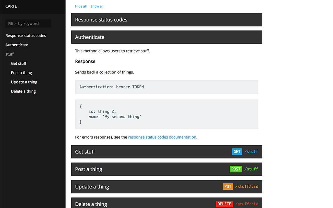 Carte – An API documentation theme – Jekyll Themes