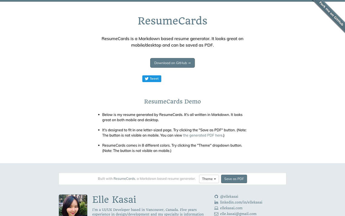 Resumecards – Markdown based resume generator – Jekyll Themes
